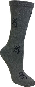 BG LADIES HEARTLAND CREW SOCKS MED DARK GREY & BLACK