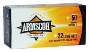 ARMSCOR AMMO .22LR HIGH-VEL 36GR. LEAD PLATED HP 50-PACK