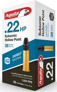 AGUILA AMMO .22LR SUBSONIC 1025FPS. 38GR. LEAD-HP 50-PACK
