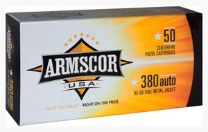 ARMSCOR AMMO .380ACP 95GR. FMJ 50-PACK MADE IN USA