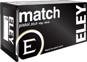 ELEY MATCH PISTOL 40GR. ROUND NOSE 50 PACK