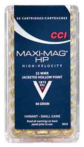 CCI AMMO MAXI-MAG .22WMR 1875FPS. 40GR. JHP 50-PACK