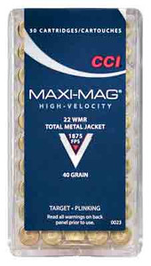 CCI AMMO MAXI-MAG .22WMR 1875FPS. 40GR. FMJ SOLID 50PK.