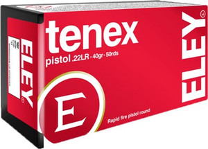ELEY TENEX PISTOL 22LR 40GR. ROUND NOSE 50 PACK