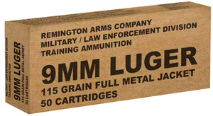 Remington Ammunition brass B9MM3 Overrun 9mm Luger 115 GR Full Metal Jacket 50 Bx/ 10 Cs*