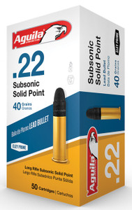 Aguila 1B222269 Standard 22 Long Rifle (LR) 40 GR Subsonic Solid Point 50 Bx/ 100 Cs*