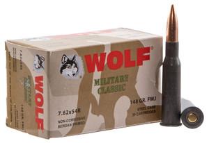 Wolf MC76254R148 Military  7.62x54mmR 148 GR Full Metal Jacket (FMJ) 500 Bx/