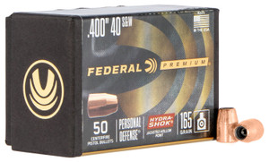 Federal PB40HS165 Hydra-Shok Component  10mm/40 S&W .400 165 GR Jacketed Hollow Point 50 Box