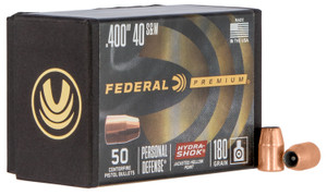 Federal PB40HS180 Hydra-Shok Component  10mm/40 S&W .400 180 GR Jacketed Hollow Point 50 Box