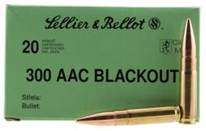 Sellier & Bellot 300BLKSUBA Rifle  300 AAC Blackout/Whisper (7.62x35mm) 200 GR Full Metal Jacket Subsonic 20 rounds