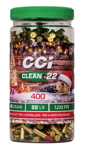 CCI 946XMAS Clean-22 Christmas Ammo 22 LR 40 gr Lead Round Nose Poly-Coated Red/Green 400 Bx/ 8 Cs*