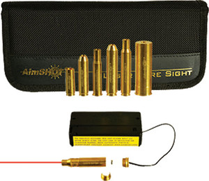 AIMSHOT BORE SIGHT .223 20X W/ TOP 6 RIFLE CAL ARBORS