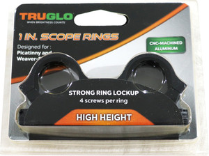 TRUGLO RINGS 1 HIGH MATTE PICATINNY/WEAVER W/4 SCREWS