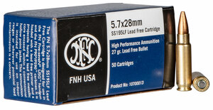 FN 10700013 High Performance  5.7mmX28mm 27-GR Lead Free Hollow Point 50 Bx/ 10 Cs