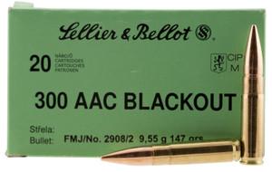 Sellier & Bellot- 300BLKB Rifle  300 AAC Blackout/Whisper (7.62x35mm) 147 GR Full Metal Jacket (FMJ) 20 Bx/ 50 Cs