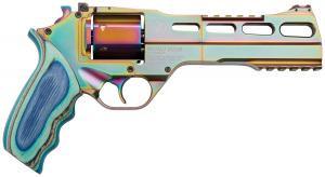 Chiappa Firearms CF340.301- Rhino 60SAR Nebula *CA Compliant 357 Mag 6 6 Round Rainbow PVD Blue Laminate Grip