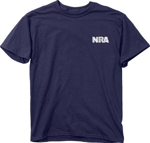 BUCK WEAR T-SHIRT NRA GUN STRIPES NAVY LARGE