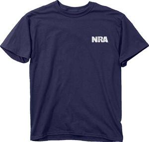 BUCK WEAR T-SHIRT NRA GUN STRIPES NAVY MEDIUM