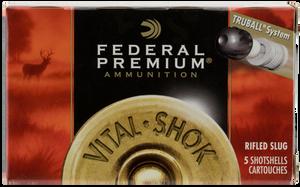 """Federal PB203RS Premium Vital-Shok TruBall 20 Gauge 2.75"""" Rifled Slug 3/4 oz Slug Shot 5 Bx/ 50 Cs"""