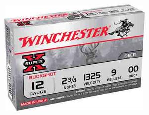 """Winchester Ammo XB1200 Super-X 12 Gauge 2.75"""" 9 Pellets 00 Buck Shot 5 Bx/ 50 Cs"""