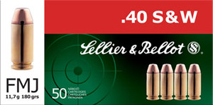 Sellier & Bellot- SB40B Handgun  40 S&W 180 GR Full Metal Jacket (FMJ) 50 Bx/ 20 Cs