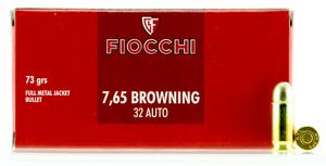 Fiocchi -32AP Pistol  32 Auto 73 GR Full Metal Jacket 50 Bx/ 20 Cs