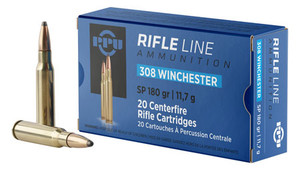PPU PP3083 Standard Rifle  308 Win/7.62 NATO 180 GR Soft Point (SP) 20 Bx