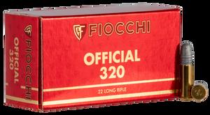Fiocchi- 22SM320 Exacta Super Match 22 Long Rifle (LR) 40 GR Round Nose 50 Bx/ 100 Cs
