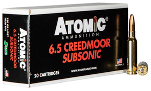Atomic -00476 Rifle Subsonic 6.5 Creedmoor 130 GR Sierra HPBT 20 Bx/ 10 Cs