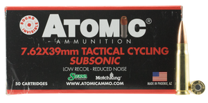 Atomic- 00474 Rifle Subsonic 7.62X39mm 220 GR Hollow Point Boat Tail 50 Bx/ 10 Cs