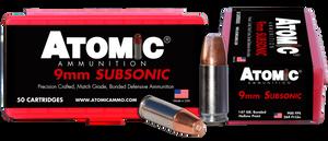Atomic -00438 Pistol Subsonic 9mm Luger +P 147 GR Bonded Match Hollow Point 50 Bx/ 10 Cs