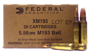 Federal- XM193 XM  5.56x45mm NATO 55 GR Metal Case Boat Tail (MCBT)-500 rounds 25 boxes of 20 rounds
