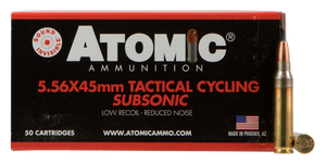 Atomic 00408 Rifle Subsonic 223 Rem/5.56NATO 112 GR Soft Point Round Nose 50 Bx