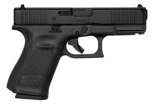 "Glock- PA195S201 G19 Gen5 Compact 9mm Luger 4.02"" 10+1 Black nDLC Steel w/Front Serrations Slide Black Rough Texture Interchangeable Backstraps Grip Fixed Sights"