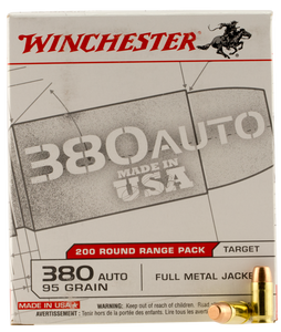 Winchester Ammo USA380W USA  380 ACP 95 GR Full Metal Jacket FMJ 200 Bx/ 5 Cs