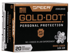 Speer Ammo 23618GD Gold Dot Personal Protection 9mm Luger 124 GR Hollow Point HP 20 Bx/ 10 Cs