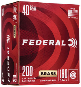 Federal WM52232 Champion Training 40 S&W 180 gr Full Metal Jacket FMJ 200 Bx/ 5 Cs