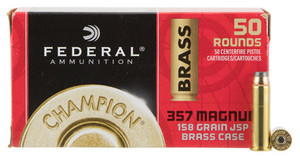 Federal WMAE357A Champion  357 Magnum 158 GR Jacketed Soft Point 50 Bx- 8 Cs