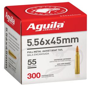 Aguila 1E556126 Rifle  5.56 NATO 55 GR FMJBT 300 Bx-4 Cs