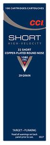 CCI 0027 Target & Plinking  22 Short 29 GR Copper-Plated Round Nose 100 Bx- 50 Cs