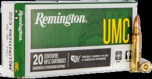Remington Ammunition- L223R3 UMC  223 Rem/5.56NATO 55 GR Full Metal Jacket (FMJ) 20 Bx/ 10 Cs