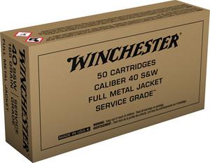 Winchester Ammo -SG40W Service Grade  40 S&W 165 GR Full Metal Jacket Flat Nose 50 Bx/ 10 Cs