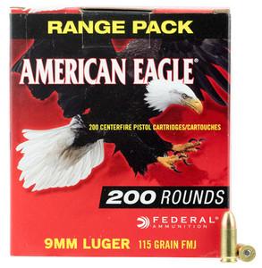 Federal -AE9DP200 American Eagle  9mm Luger 115 GR Full Metal Jacket (FMJ) 200 Bx/ 5 Cs