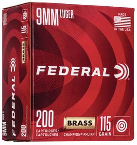 Federal WM51992 Champion Training 9mm Luger 115 gr Full Metal Jacket (FMJ) 200 Bx/ 5 Cs
