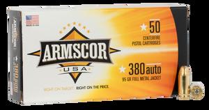 Armscor- FAC3802N Pistol  380 ACP 95 GR Full Metal Jacket (FMJ) 50 Bx/ 20 Cs