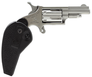 "NAA HGBLLR Mini-Revolver 22 LR 5rd 1.63"" Stainless Steel, Black Synthetic Holster Grip"