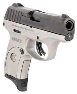 "Ruger 3290 EC9s 9mm Luger 3.12"" 7+1 Silver Cerakote Black Oxide Steel Slide Silver Checkered Grip"