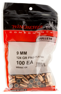 Winchester Ammo -WB9MC124 Centerfire Handgun  9mm .355 124 GR Full Metal Jacket Flat Base 100 Box