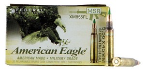 Federal -XM855FL American Eagle XM 223 Rem/5.56NATO 62 GR Full Metal Jacket Boat Tail -sold by the case-500 rds total (20 Bx/ 25 Cs)