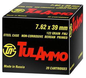 Tulammo- UL076210 Rifle  7.62X39mm 122 GR Full Metal Jacket (FMJ) 100 Bx/ 10 Cs